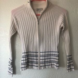 Bebe White Tight Striped Sweater Long Sleeve Top
